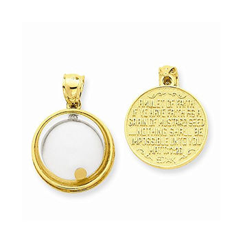 14k Mustard Seed Domed If Ye Have Faith Pendant, Best Quality Free Gift Box Satisfaction Guaranteed