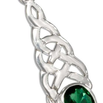 STERLING SILVER CELTIC KNOT PENDANT WITH GREEN GLASS OVAL