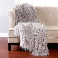 Best Home Fashion THROW-LAMB-Grey-60 Wild Mannered Mongolian Lamb Faux Fur Throw Blanket | ATG Stores