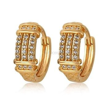 Three Roads of Clear Cz Huggies 1OMM Earrings 18Kts of Gold Plated