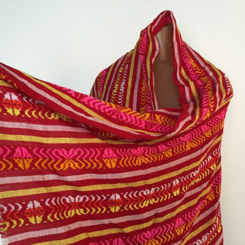 Colorful Mexican Shawl, Red Hand Woven Wrap, Mexico Throw, Fun Mexican Table Runner, Long Mexican Woven Scarf, Pretty Central American Shaw