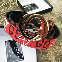 GUCCI Fashion New Women Men Smoothing Belt Letter Five-Pointed Star Print Leather Belt