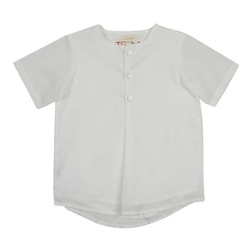Teela Boys' White Pleat Top