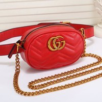 Gucci Fashionable Women Leather Metal Chain Crossbody Satchel Waist Bag Red I/A