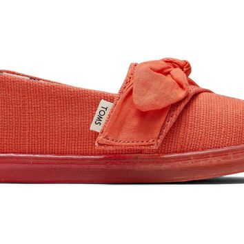 TOMS - Tiny Classics Salmon Heritage Canvas Bow Ombre Ice Outsole Slip-Ons