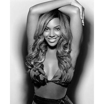 Beyonce poster Metal Sign Wall Art 8in x 12in Black and White