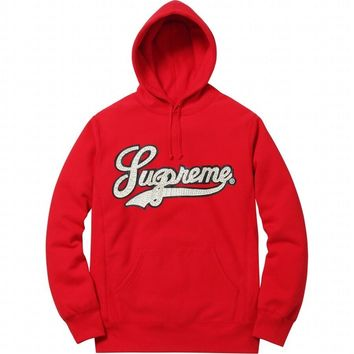 SS16 Red Supreme 'Studded Leather Script' Hoodie Sweatshirt - SIZE S