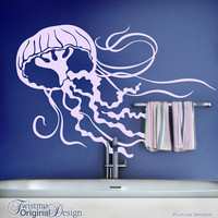 Jellyfish Decal - Bathroom Wall Decor, Under the Sea Room Decor, Sea Life Wall Decor