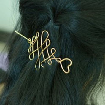 Chinese Knot Heart Hair Accessory