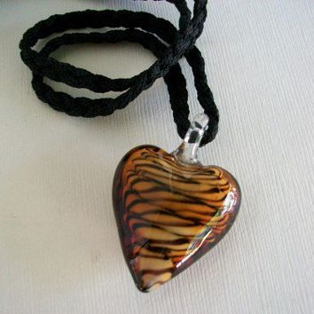 Brown and Black Swirl Glass Heart Pendant Necklace | JabberJewels - Jewelry on ArtFire