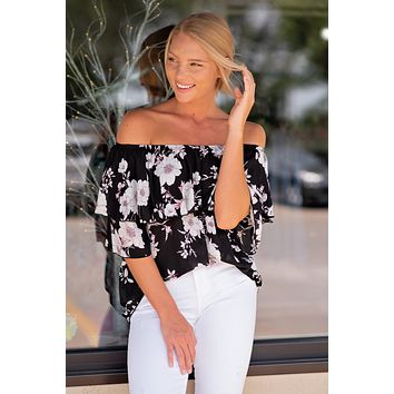 Hooked On You Off The Shoulder Ruffle Top : Black