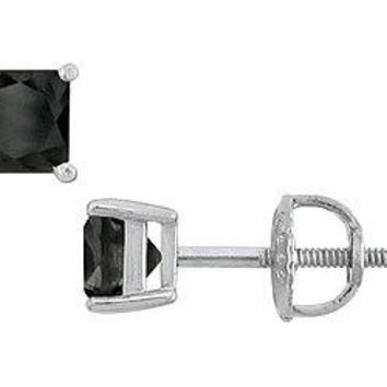 14K White Gold Prong Set Square Onyx Stud Earrings 1.00 CT TGW.