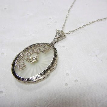 Vintage Camphor Glass and Diamond Filigree Necklace / Butterfly and flower design / Black enamel / 14k chain / unique / Xmas gift gift