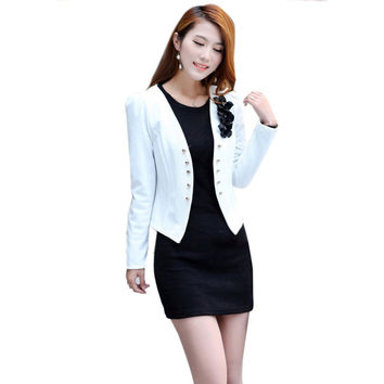 Fashion Korean Women Long Sleeve Slim Short OL Suit Jacket Blazer Coat Casual blazer feminino
