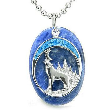 "Howling Wolf and Moon Amulet Good Luck Powers Sodalite Gemstone Pendant on 18"" S"