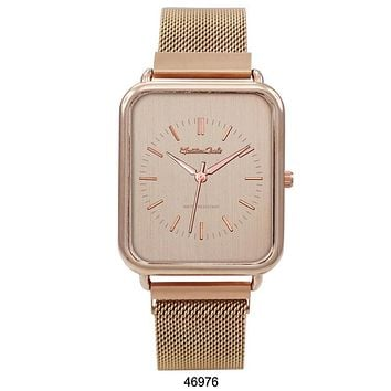 Montres Carlo Rose Gold Stainless Steel Mesh Band Watch with Magnetic Strap and Rose Gold Dial