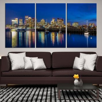 45193 - Boston City Decorative Wall Art Canvas Print - Boston Skyline, Boston, Boston Canvas, Boston Wall Art, Canvas Print, Boston Print, Wall Art,