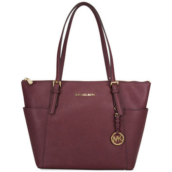 Michael Kors Jet Set Top-Zip Saffiano Leather Medium Tote - Plum