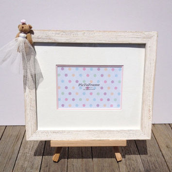 Baby frame, Newborn gift, 6 x 4 white photo frame, Teddy Bear frame, baby shower, Baby girl photo frame, nursery decor, girl's room