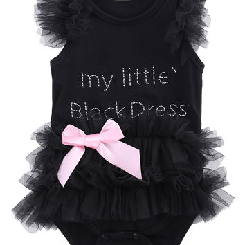 Hot Newborn Baby Girls Bodysuits Fashion Embroidered Lace My Little Black Dress Letter infant Baby Bodysuit