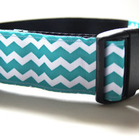 Aqua Chevron Dog Collar Adjustable Sizes M, L, XL)