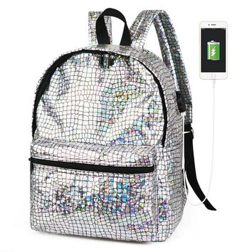 Student Backpack Children 2018 women hologram usb charge backpack laser daypacks girl school bag male silver pu leather holographic student bags mochila AT_49_3