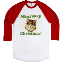 Meow-y Christmas, Merry Holiday Kitty Cat Shirt-White/Red T-Shirt