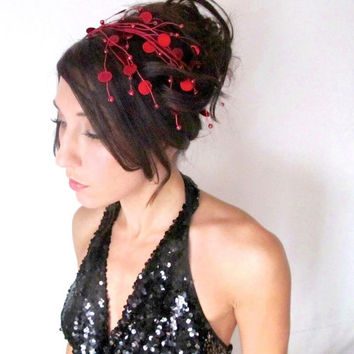 Kiss Me, Red Sequin Cascade Headband, Tiara, Crown, Holiday, Christmas, Halloween,