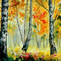 MORNING BIRCHES — PALETTE KNIFE Oil Painting On Canvas By Leonid Afremov - Size 30X24. use 10% discount coupon - deviantart10off