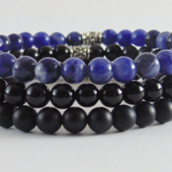Mens Set three bracelets Black Onyx Matte Black Onyx Sodalite Stretch Elastic Free Shipping Beaded Surfer Bracelet Free Shipping