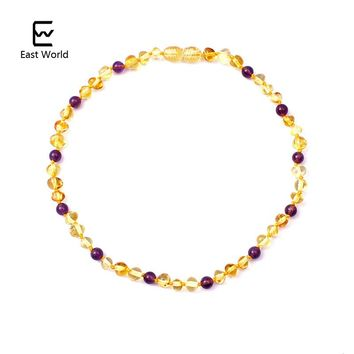 EAST WORLD Amber Necklace for Women Handmade Mother Day Gifts Knotted Natural Gemstone Baltic Amber Beads Collar Mama Jewelry