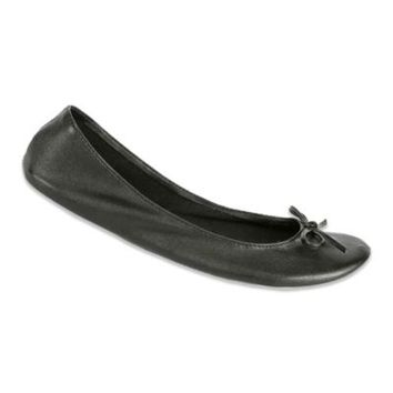 Footzyfolds™ Footrollupz Foldable Ballet Flat in Black As Night