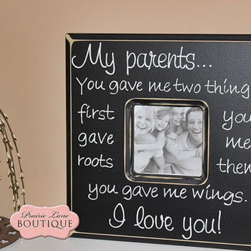 My parents, Roots & Wings, Picture, Quote, Photo Frame, Black and White, Graduation Frame, Graduation Gift, Wedding Gift, Parents gift