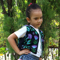 Girls Vintage Hmong Ethnic Vest With Floral Embroidery