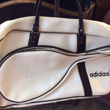Vintage Antique Estate RARE White and Navy Blue Vinyl Adidas Tennis Bag Game Match Racket Ball Case Gym Court Bag