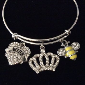 Wife Queen Bee Crown Crystal Adjustable Bracelet Silver Expandable Charm Bangle Trendy One Size Fits All Gift