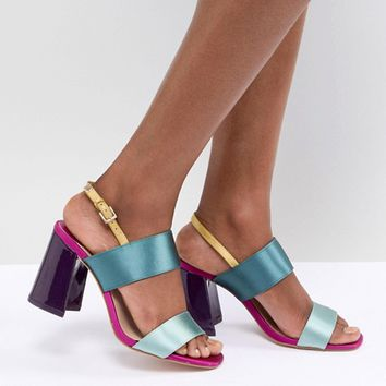 Stradivarius Multi Strap Heeled Sandal at asos.com