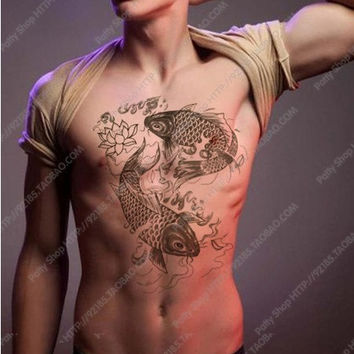 Big fish Large temporary tattoos Shoulder Lower Back Waterproof temporary tattoos sticker sexy men
