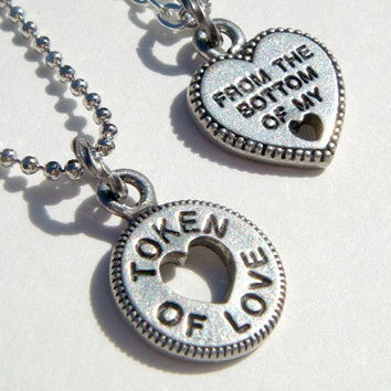 Token Of Love Necklaces - From The Bottom Of My Heart - Couples Jewelry - His and Hers Necklace Set - Best Friends Gift - Boyfriend Necklace