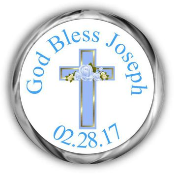 Blue Cross Personalized Baptism Kisses Stickers