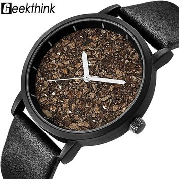 Geekthink Natural Gravel Stone Face Fashion Men Brand Quartz Watches Women Wooden Ladies Casual Designer Wristwatch Dress