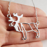 Silver Moose Necklace - Moose Origami Inspired Animal Necklace