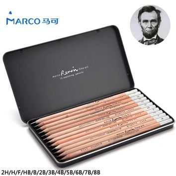 Marco 12Pcs Iron Box Charcoal Drawing Pencil Sketch Painting Best Quality Non-toxic Standard Pencils For Office School Pencil