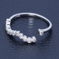 925 sterling silver wave shape zircon ring,simple sweet zircon ring,a perfect gift