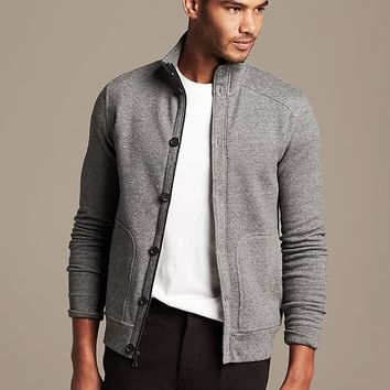 Banana Republic Mens Gray Knit Jacket Size M Tall - Medium gray heather