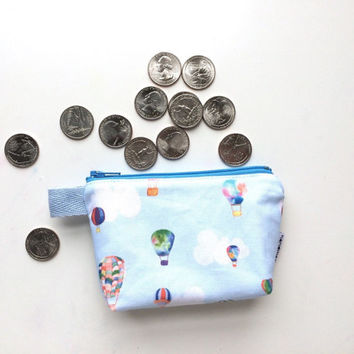 Hot Air Balloons Divided Mini Flat Bottom Pouch / Coin Purse (handmade philosophy's pattern)