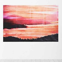 Warm Landscape Wall Mural Decal- Orange One Size- Orange One