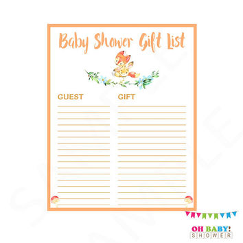 Baby Shower Gift List, Fox Baby Shower, Gift List, Fox and Bunny, Baby Shower Printables, Baby Shower Instant Download, Watercolor, FXBN