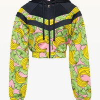 JXJC Banana Print Colorblock Tricot Jacket