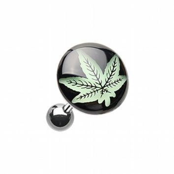 Glow in the Dark Cannabis Weed Cartilage Tragus Earring